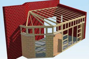 Односкатная крыша пристройки к дому