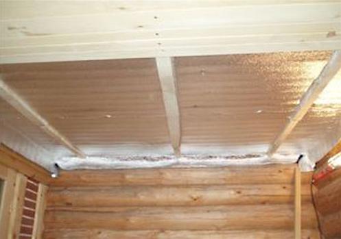 Строим потолок в бане