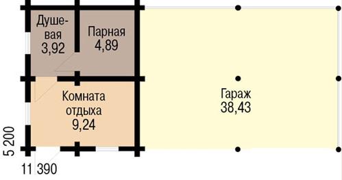 План гаража с баней